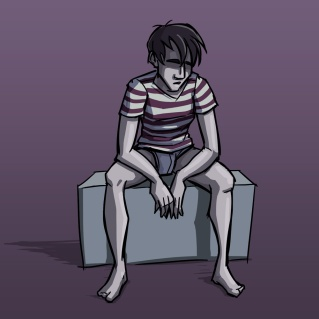 Depressed guy sitting on box