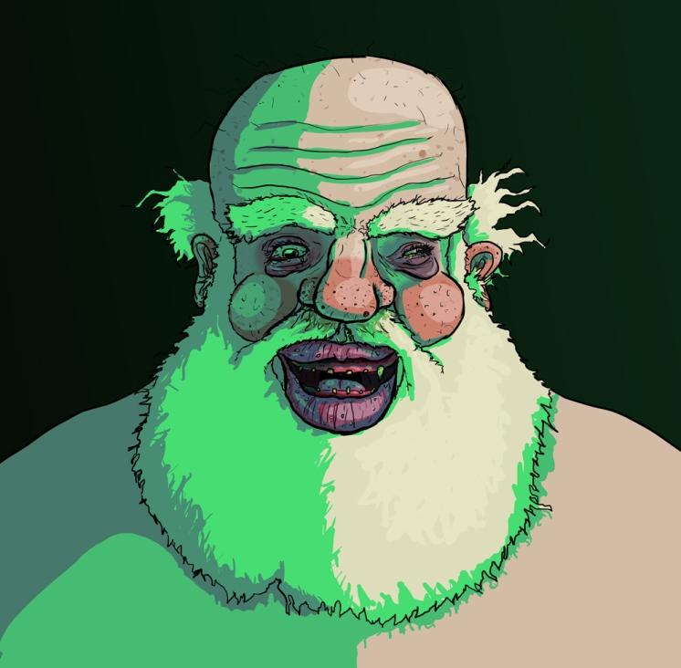 Gross Santa close up