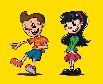 Happy Days boy and girl illustration