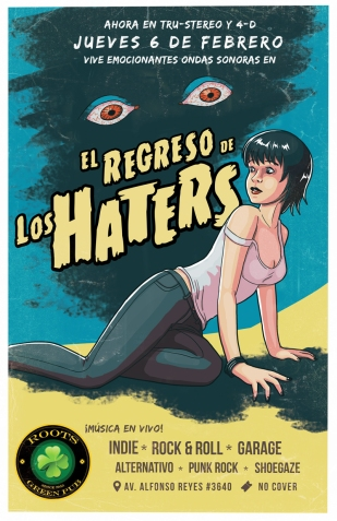 Retro Horror gig poster for Los Haters Monterrey band