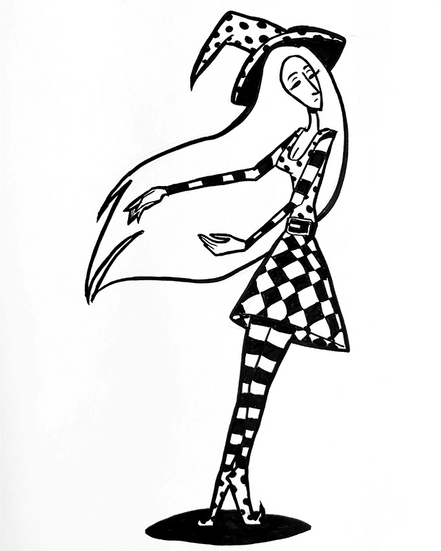 Illustration of of a witch with patterned clothes