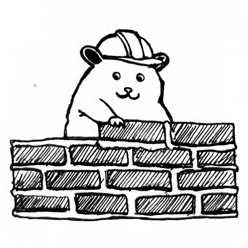 Illustration of a hamster building a brick wall