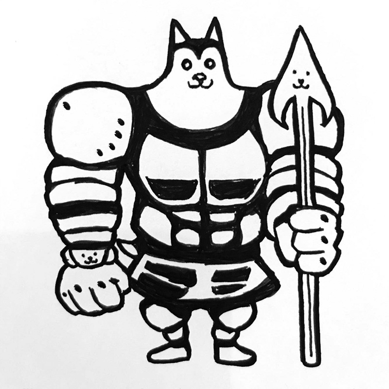 Illustration of a Husky cosplaying as Greater Dog from Undertale
