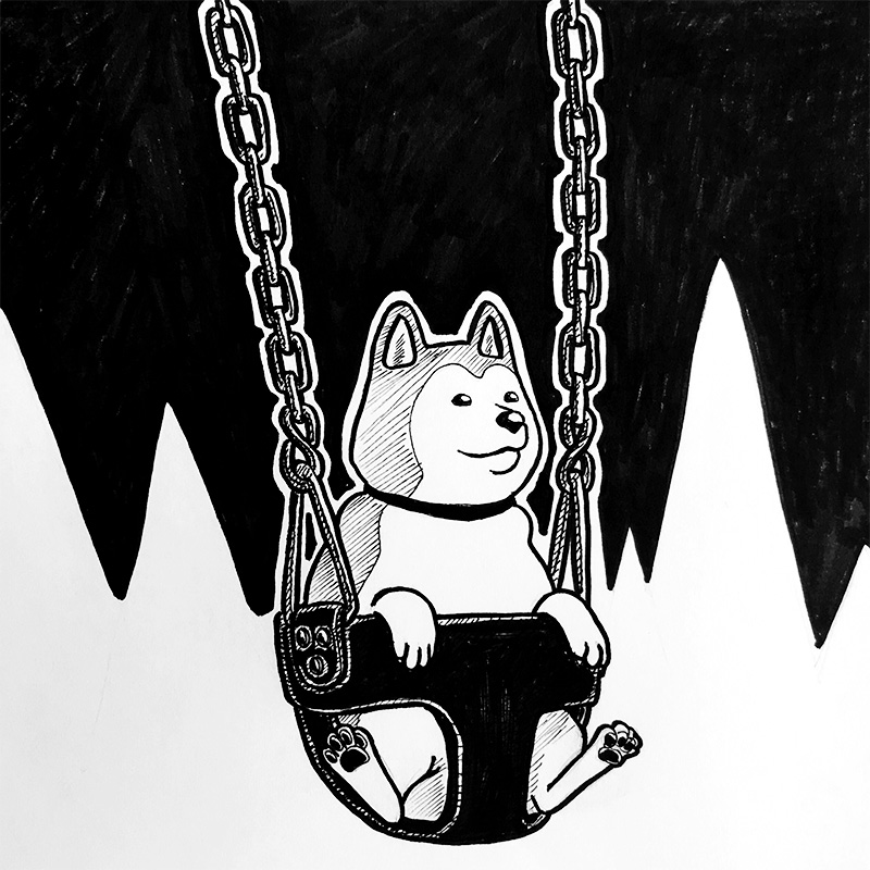 Illustration of a shiba inu on a swing